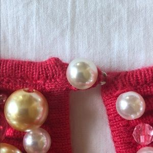 Moth Tops - Red knit blouse with pearls
